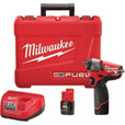 FREE SHIPPING — Milwaukee M12 FUEL Cordless Impact Wrench Kit with Friction Ring — 1/4in. Drive, 41.66 Ft.-Lbs. Torque, 2 Batteries, Model# 2452-22 The price is $199.00.