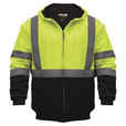 Utility Pro Men's Class 3 High Visibility Hooded Zip-Up Sweatshirt with Teflon Fabric Protector — Lime/Black, XL, Model# UHV425 The price is $44.99.