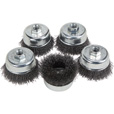 FREE SHIPPING — Klutch 3in. Crimped Wire Cup Brushes — 5-Pk. The price is $8.99.