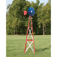 Outdoor Water Solutions Ornamental Garden Windmill — 12ft.H, Red, White and Blue, Model# BYW0052 The price is $279.99.