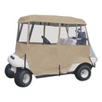Classic Accessories Fairway Deluxe Golf Cart Enclosure – 4-Sided, 2-Person, Sand, 66in.L x 53in.W, 60in.L x 47in.W Roof Dimensions, Model# 72072 The price is $79.99.