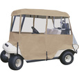 Classic Accessories Fairway Deluxe Golf Cart Enclosure – 4-Sided, 4-Person, Sand, 94in.L x 47in.W, 79in.L x 43in.W Roof Dimensions, Model# 72472 The price is $147.99.