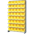 Quantum Storage Store-More Single Side Sloped Shelving Unit With 40 Bins — 36in.W x 12in.D x 60in.H, Yellow, Model# QPRS-202YL The price is $409.99.