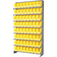 Quantum Storage Store-More Single Side Sloped Shelving Unit With 64 Bins — 36in.W x 12in.D x 60in.H, Yellow, Model# QPRS-201YL The price is $439.99.