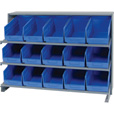 Quantum Storage Store-More Sloped Bench Rack Shelving Unit with 15 Bins — 36in.W x 12in.D x 21in.H, Blue, Model# QPRHA-202BL The price is $199.99.