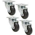 Ironton Swivel Nonmarking Polyolefin Casters — 4-Pack, 3in., 1,000-Lb. Capacity/Set, 250-Lb. Capacity Each The price is $17.24.