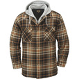 FREE SHIPPING — Gravel Gear Sherpa-Lined Hooded Flannel Shirt Jacket — XL, Tan The price is $44.99.