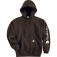 Carhartt Men's Midweight Hooded Logo Sweatshirt - Dark Brown, Medium, Model# K288 The price is $44.99.