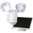 Maxsa Motion-Activated Dual Head LED Solar Light — 12 LEDs, 685 Lumens, White, Model# 44418 The price is $54.99.