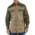 Carhartt Men's Ironwood Snap-Front Twill Work Shirt - Khaki/Moss, Large Tall, Model# S209 The price is $37.99.