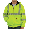 Carhartt Men's Class 3 High Visibility Zip-Front Thermal-Lined Sweatshirt — Lime, XL, Tall Style, Model# 100504-323 The price is $79.99.