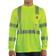 Carhartt Men's Class 3 High Visibility Force Long Sleeve T-Shirt — Lime, XL, Model# 100496-323 The price is $29.99.