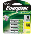 Energizer Universal Recharge AAA Batteries — 4-Pk, Model# UNH12BP-4 The price is $13.99.