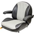 K & M Garden/Lawn Tractor Seat with Fold-Up Armrests — Black/Silver Vinyl, Model# 8467 The price is $214.99.