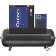 FREE SHIPPING — Quincy QGS-10 Rotary Screw Compressor — 39.6 CFM at 125 PSI, 3-Phase, 120-Gallon Horizontal, Tank-Mount with Dryer, Model# 4152021980 The price is $8,473.33.