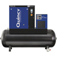 FREE SHIPPING — Quincy QGS-15 Rotary Screw Compressor — 55.9 CFM at 125 PSI, 3-Phase, 120-Gallon Horizontal, Tank-Mount with Dryer, Model# 4152021984 The price is $9,171.67.