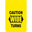 Buyers Products Caution Wide Turns Polymer Mud Flaps — Pair, 24in. x 36in., Model# B2436YC The price is $29.99.