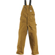 Carhartt Men's Duck Unlined Bib Overall - Brown, 40in. Waist x 32in. Inseam, Model# R01 The price is $69.99.