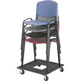 Mayline Safco Stack Chair Cart — Black, 23 1/2in.L x 23 1/5in.W x 4 1/2in.H, Model# 4188 The price is $79.99.