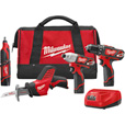 FREE SHIPPING — Milwaukee M12 Cordless Combo Kit — 4-Tool Set with 2 Batteries, Model# 2497-24