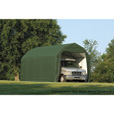 ShelterLogic 12Ft.W Homestead Barn Style Garage — 28ft.L x 12ft.W x 11ft.H, Green, Model# 90254 The price is $1,049.99.
