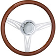 Roadmaster 18in. Steering Wheel with Boss Kit and Horn Button — Fits Kenworth Trucks, Wood Finish with UV Protected Chrome Spokes, Model# 29525-CLASSIC The price is $169.99.