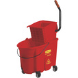 Rubbermaid WaveBreak Commercial Mop Bucket/Wringer System — Red, 35-Qt. Capacity, Model# FG758888RED-EA The price is $139.99.