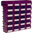 Triton LocBin 24-Pc. Bin Set with Wall-Mount Rails — Raspberry, 5 3/8in.L x 4 1/8in.W x 3in.H, Model# 3-210RBWS The price is $46.99.