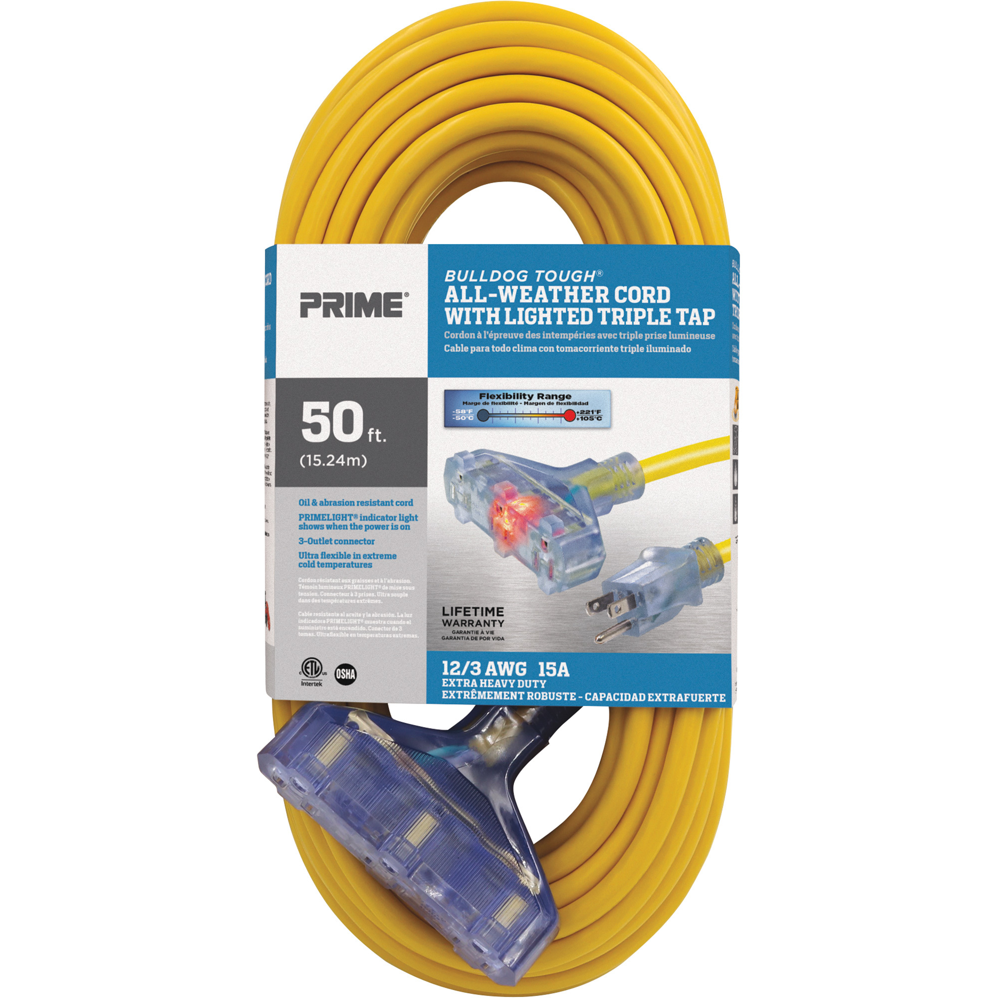 Prime Wire Cable Bulldog Tough Outdoor Extension Cord With Triple Tap 50ft