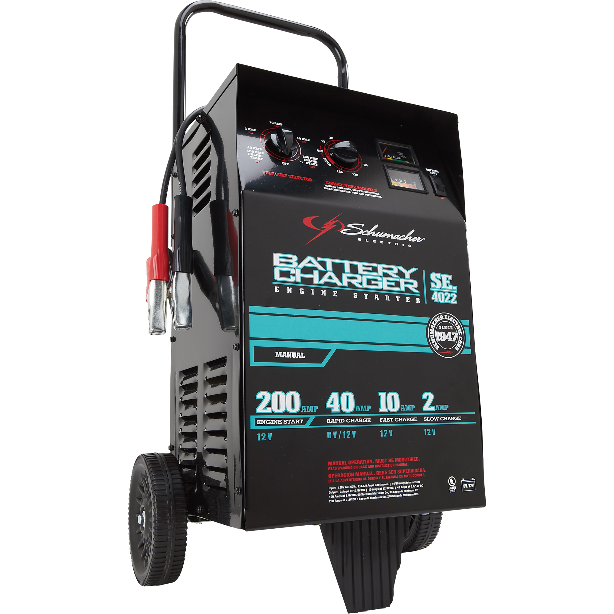 1677826_2000x2000 schumacher wheeled battery charger with engine start 6 12 volt schumacher battery charger se 4022 wiring diagram at eliteediting.co