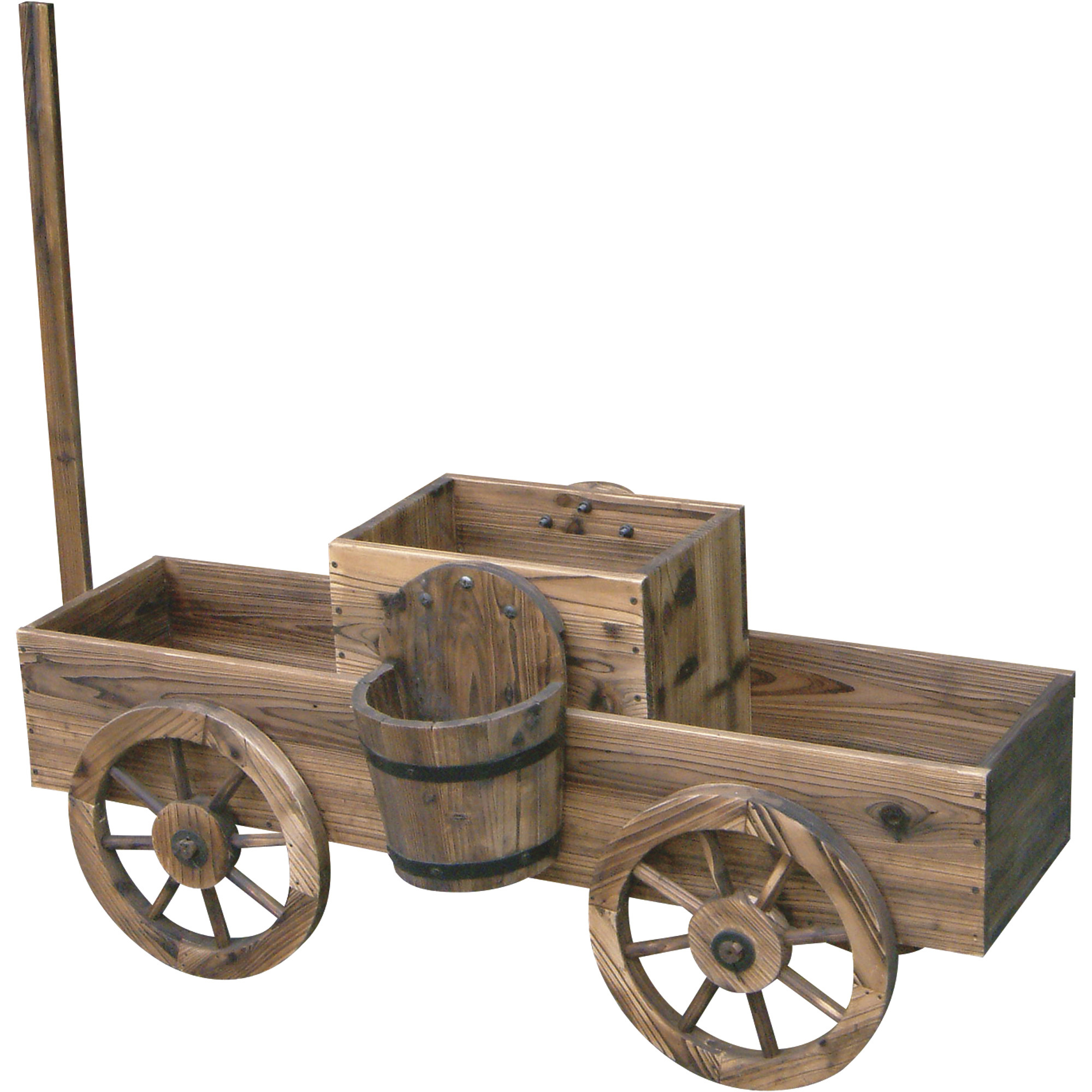 Stonegate designs 2 tiered wooden wagon planter model t for Wooden garden planter designs