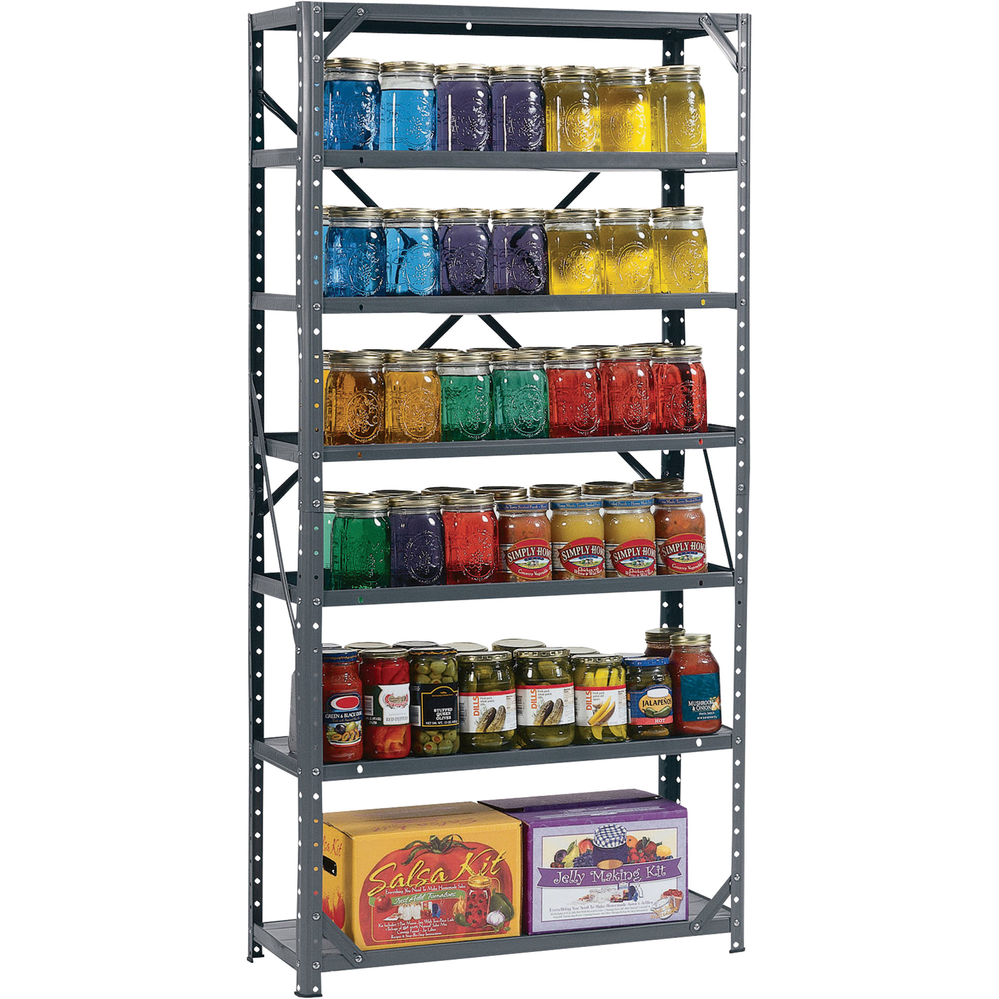 Edsal Steel Canning Shelving 7 Shelves 30inw X 12ind X 60inh