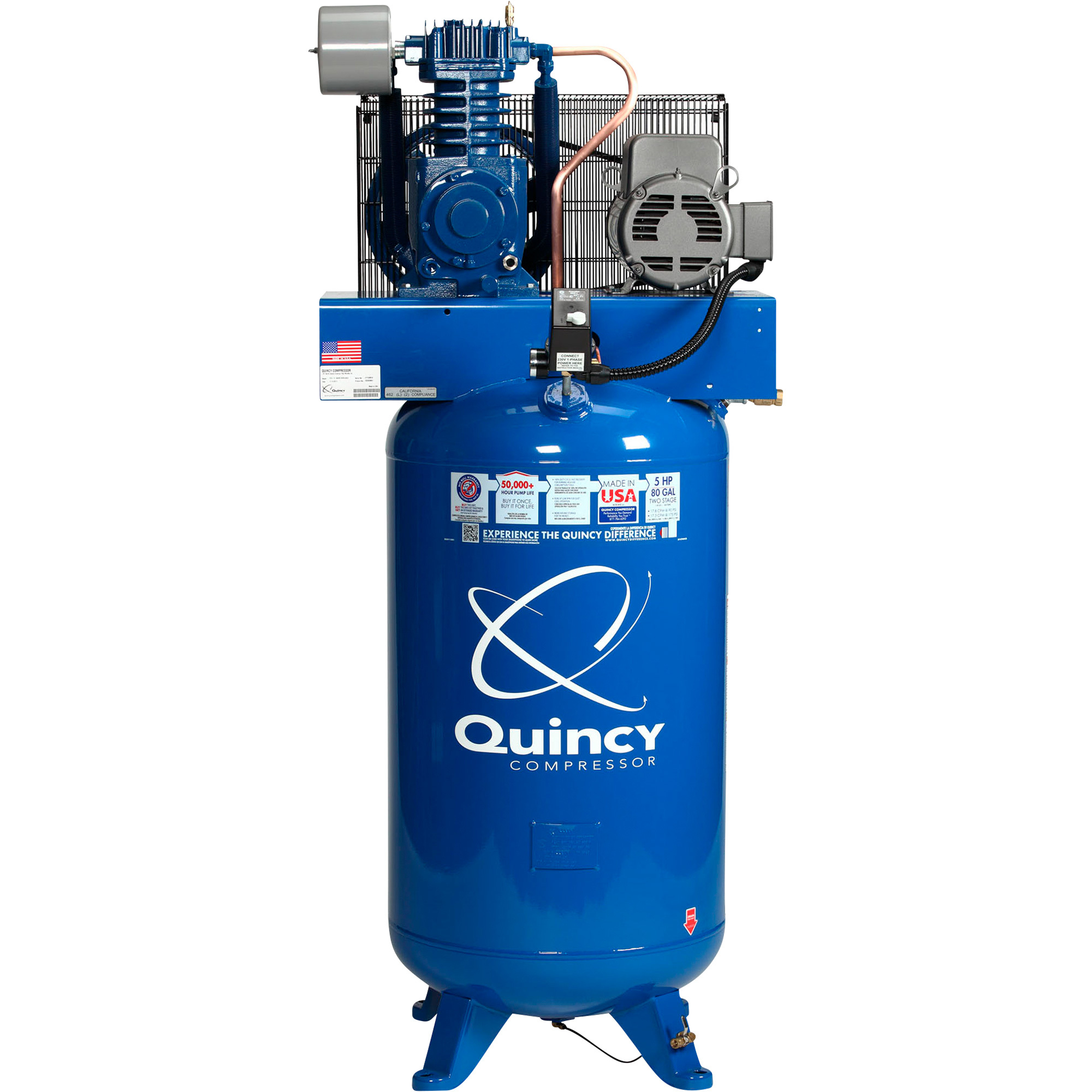 Quincy Qt 5 Splash Lubricated Reciprocating Air Compressor