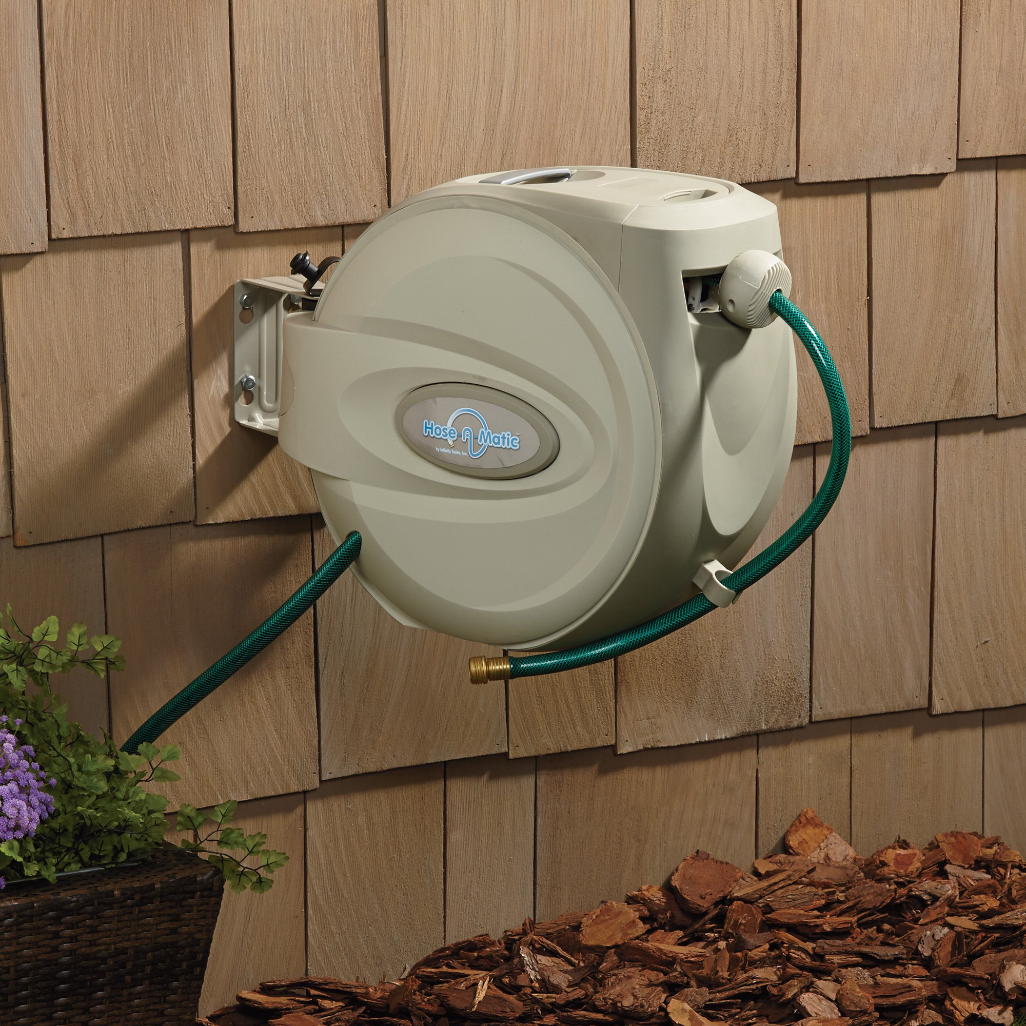 Great Hose A Matic Wall Mount Garden Hose Reel U2014 Holds 5/8in