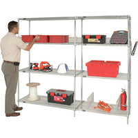 Quantum Chrome Wire Shelving Starter Kit — 24in.W x 14in.D x 54in.H, Model# WR54-1424C