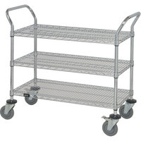 Quantum Wire Shelving Mobile Utility Cart — 3 Shelves, 18in.W x 42in.L x 38in.H, Model# WRC-1842-3