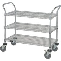 Quantum Wire Shelving Mobile Utility Cart — 3 Shelves, 18in.W x 48in.L x 38in.H, Model# WRC-1848-3