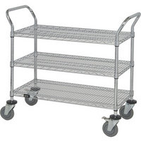 Quantum Wire Shelving Mobile Utility Cart — 3 Shelves, 24in.W x 36in.L x 38in.H, Model# WRC-2436-3