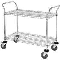 Quantum Wire Shelving Mobile Utility Cart — 2 Shelves, 24in.W x 42in.L x 38in.H, Model# WRC-2442-2