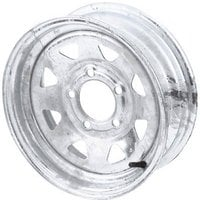 FREE SHIPPING — High Speed Replacement Trailer Wheel, 15in. 5-Hole, Galvanized, Spoked Rim