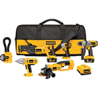 FREE SHIPPING — DEWALT 18V Cordless Tool Combo Kit — 6-Tool Set, With 2 Batteries, Model# DCK675L