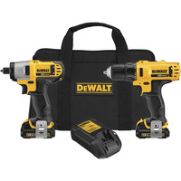 FREE SHIPPING — DEWALT 12V MAX Li-ion Cordless 3/8in. Drill/Driver & 1/4in. Impact Driver Combo Kit — With 2 Batteries, Model# DCK211S2