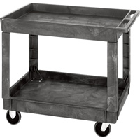 Quantum Industrial Plastic Cart — 40in.L x 26in.W x 32 1/2in.H, 2-Shelf, Model# PC4026-33