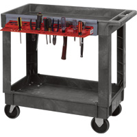 Quantum Industrial Plastic Cart — Tool Holder, 35in.H, 2-Shelf, Model# PC3518-33PCTH