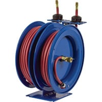 Coxreels Dual Air Hose Reel — With 1/4in. x 25ft. PVC Hoses, Max. 300 PSI, Model# C-LP-125-125