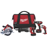 FREE SHIPPING — Milwaukee M18 Cordless Combo Kit — 4-Tool Set, With 2 Batteries, Model# 2694-24