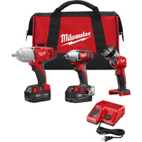 FREE SHIPPING — Milwaukee M18 Cordless Combo Kit — 3-Tool Set, With 2 Batteries, Model# 2696-23