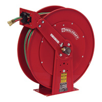 Reelcraft TW Series Spring-Rewind Twin-Line Dual Fuel T-Grade Hose Reel — Includes 1/4In. X 100Ft. Hose, Model# TW84100 OLPT