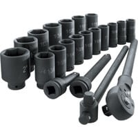 Klutch Jumbo Ratchet and Impact Sockets — 3/4in. Drive, 21-Pc. Set, Deep