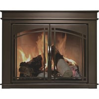 Pleasant Hearth Fenwick Fireplace Glass Door — Bronze, For 30in.-37in.W x 25.5in. to 32.5in.H Openings, Model# FN-5701